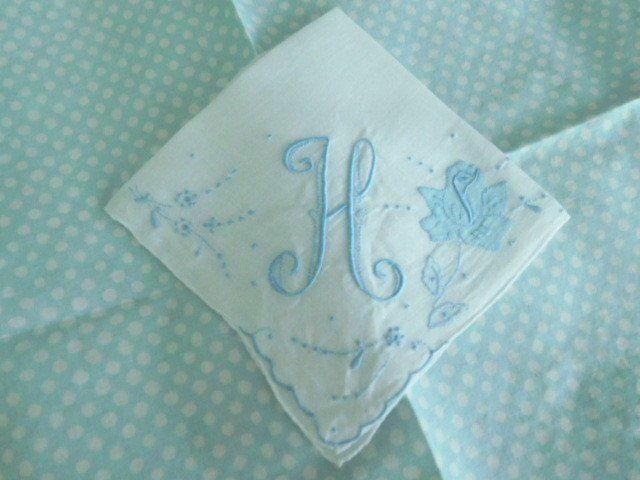 VINTAGE BRIDAL * Embroidered & Appliqued * BLUE MONOGRAM H Wedding HANKY