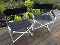 Two aluminium/black folding directors chairs