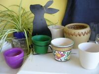 8 indoor china flower plant pots & 3 bulb bowls holders up to 14cm tall - southbourne