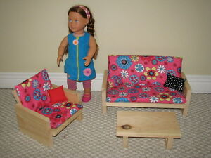 Solid Wood Doll Furniture - Living Room Set - fits American Girl