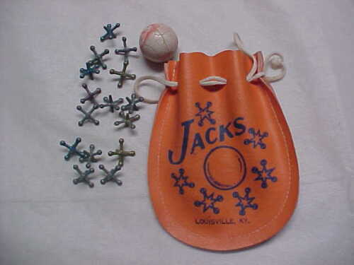 vintage jacks and ball set with pouch
