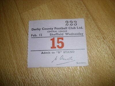 DERBY v SHEFFIELD WED  Central League  12/02/1955  Original Football Ticket