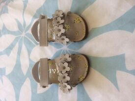 Next Girls White Sandals with flower, butterfly and diamonte detail Size 3