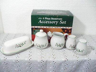 Royal Seasons Christmas Creamer, Sugar Bowl, Salt & Pepper Shaker, & Butter Dish