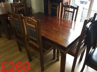 Indian dining table and 6 chairs---ONLY £200 cheap to clear--delivery available !!!