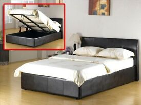BRAND NEW DOUBLE LEATHER STORAGE BED WITH LUXURY WHITE ORTHOPEDIC MATTRESS