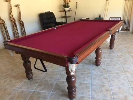 9ft American Oak Pool table, Italian slate, Red English cloth