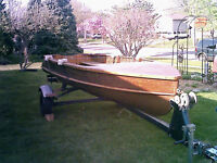 14ft Cedar Runabout Boat Only/ 750w/Trailer