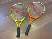 2 x Junior / kids Slazenger tennis rackets. Good condition