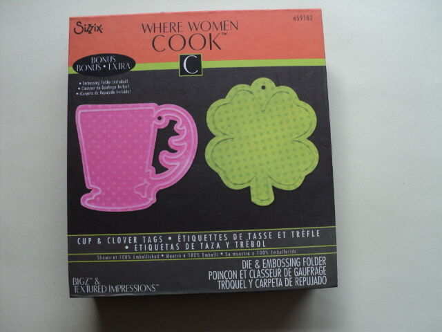 SIZZIX BIGZ DIE AND EMBOSSING FOLDER WHERE WOMEN COOK CUP & CLOVER TAGS BNIP