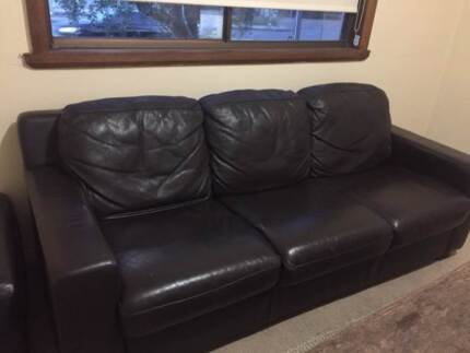 Chocolate Brown Leather Lounge and Ottoman