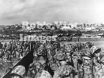 OKinawa Battle Photo US Marines landing On The Beach  South Pacific WWII
