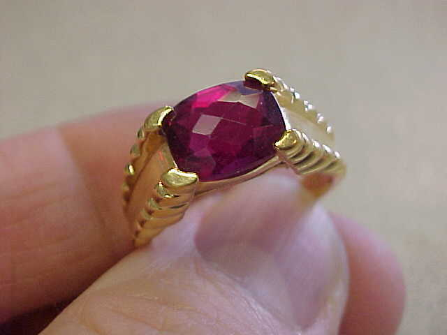 Beautiful Red Tourmaline Ring  For Him Or Her Size 9  Make Offer