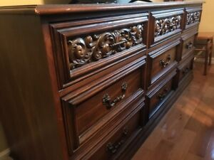 Solid wood dresser and highboy.