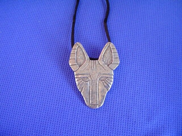 Basenji necklace African Mask Motiff Pewter Hound Dog Jewelry by CAC Designs 40P