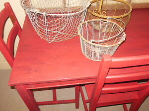 wood table and chairs in red London Ontario image 2