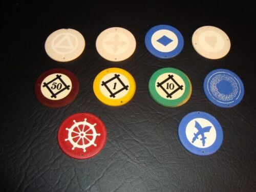 Circa 1930s Salesmen Sample Inlaid Poker Chip Grouping – 10 Chips
