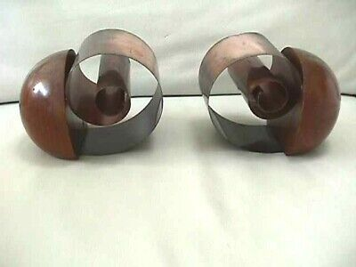 VINTAGE MID-CENTURY MODERN RARE COPPER & WOOD ROLL UP COIL BOOKENDS