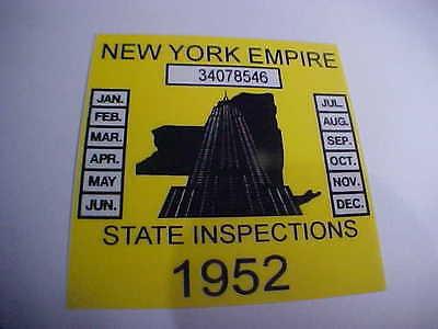 new york 1952 registration inspection sticker windshild