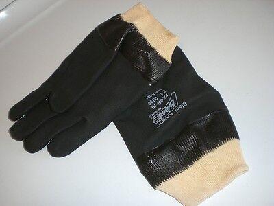 Showa Best Glove 7703R-10 BLACK KNIGHT RUBBER PVC Coated Gloves Sz 10 Lg 1 -