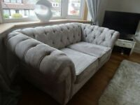 Two Next Gosford chesterfield sofa/settee/couch in silver velour. 6 months old. Cost £1150 each.