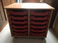 Free-Standing Beech Wood Storage Unit