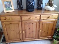 Sideboard & matching Corner Cupboard in Ducal 'Victoria' pine. Will separate.