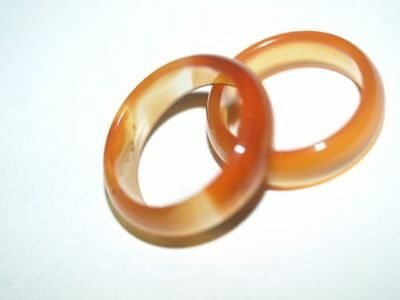 Pair of Vintage Chinese Carved Orange Carnelian Gemstone Rings, 8, Natural Stone