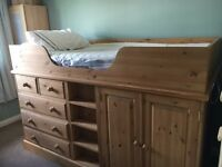 Beautiful handmade pine midi-bed