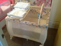 FOR SALE BEAUTIFUL TRAVEL COT AND BLANKETS ALL HAS NEW EXCELLENT CONDITION
