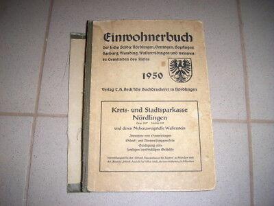 Einwohnerbuch Nördlingen und Umgebung 1950 - Adreßbuch - 1. Ausgabe seit 1936 !