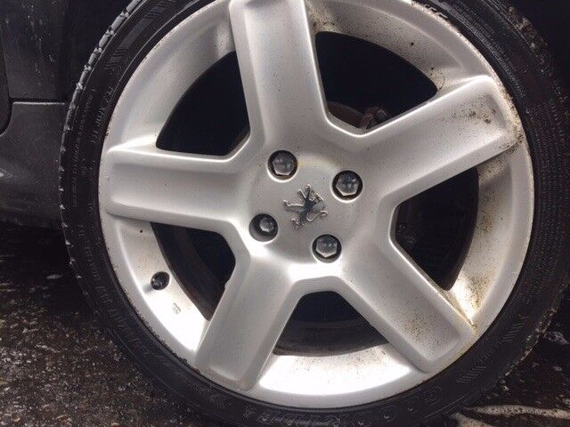 "4x PEUGEOT 4 STUD 17"" FIVE SPOKE ALLOYS AND GOOD TYRES"