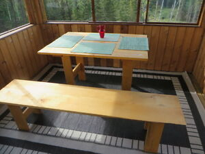 natural birch dine table with model bench