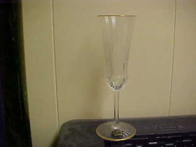 St Louis Crystal Apollo Gold 7 3 8  Champagne Flute Goblet S  Mint