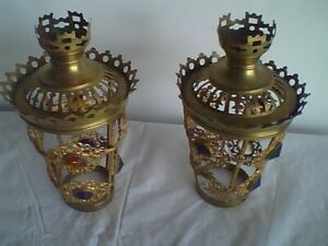 Antique Victorian Era Pair of  Brass Lamp Shades  Faceted Jewels
