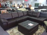 BLACK FRIDAY SPECIAL CANADIAN MADE LEATHER SECTIONAL & OTTOMAN