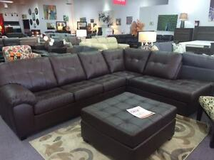 BRAND NEW CANADIAN MADE LEATHER SECTIONAL & OTTOMAN