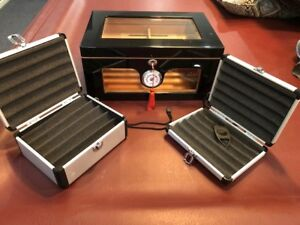 Humidor and Two Cigar Cases