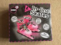 girls pink adjustable inline skates uk size 13-3