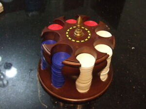 Poker Chips Wood Turntable,0890
