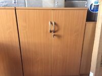 Immaculate - Used High Quality Double Door Beech 3 Shelf Lockable Storage Office/Home Cupboard