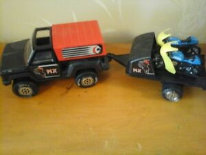 1978 Tonka  MX Truck with Trailer and 2 Motorcycles