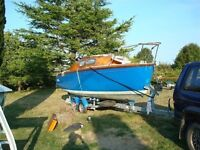 Classic Sailing Boat - Fairey Marine Fulmar. Centreboard on French double axle road trailer.