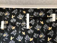 Shelves - Black & White with Mounting Bracket, Floating, Wood & Metal