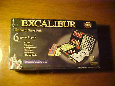 (New Excalibur Travel 6 Games Chess Checkers Backgammon Cribbage Cards Dominoes )
