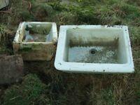 3 old stoneware sinks 2 deep one shallower