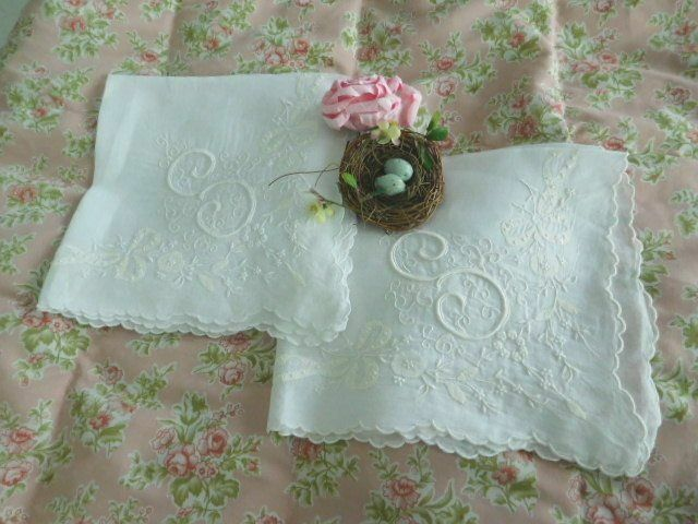 Elaborate BRIDAL Embroidery & Applique ANTIQUE MONOGRAM S Wedding Hanky