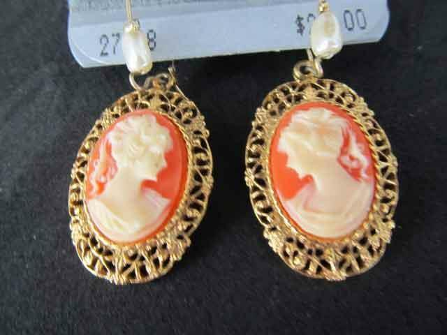 1928 Jewelry Co Gold Tone CAMEO Earrings Faux Pearl 14K GF Wire Dangle Filigree