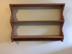 Solid pine shelf with hooks