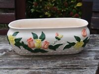 White Ceramic Planter with Floral Design